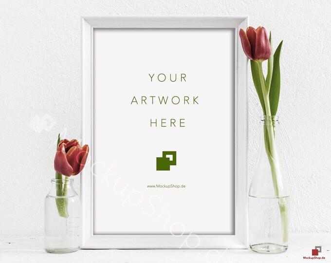 "Red TULIPS MOCKUP FRAME 10x14"" / spring flowers / valentines day / white empty frame mockup / flower frame mockup / roses  vertical frame"