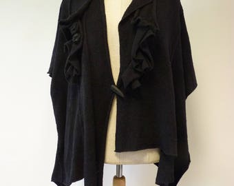Boho irregular amazing black vest, XL size.
