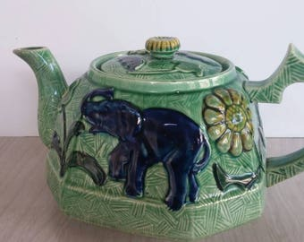 Antique Ceramic Teapot Elephant Kangaroo Japan
