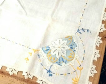 Vintage 50s Linen Tablecloth Handmade Hand Embroidered Blue and Yellow  on White Linen Rustic Cottage Retro Shabby Kitchen Decor