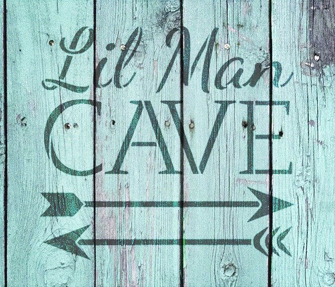 Man Cave Word Art : Lil man cave arrows word art stencil select size