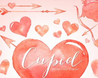 Cupid Valentine's Watercolor Clipart, Hearts Clipart, Valentines Clipart, Love Clipart, Romantic Clipart, Valentines card, Design Elements