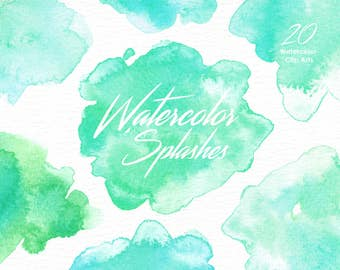 Mint Watercolor Splashes Clipart, Hand painted, brush strokes, splodge, abstract watercolour, background pink, Brush Strokes, Invitation