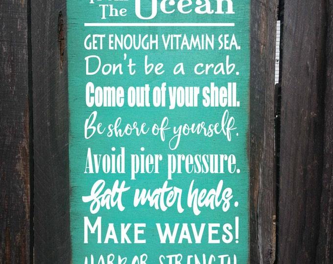 beach sign,  beach decor, Wisdom From The Ocean Sign, beach house decor, beach house sign, ocean sign, beach, beach cottage decor, 276/278