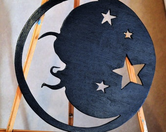 Hand Cut Wooden Shapes, Hand Painted Moon and Stars Wooden Cut-out, Celestial Wall Hanging, Outer Space Decor, Negative Space Moon Cut-out