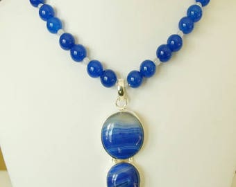 Beautiful Blue Banded Agate Silver Pendant Necklace