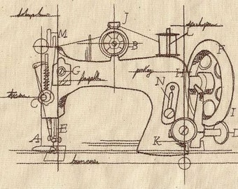 ANTIQUE SEWING MACHINE Schematic Technical Rendering Old Fashioned Machine Embroidered Quilt Square, Art Panel