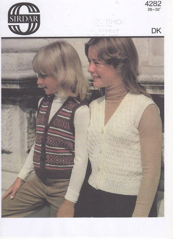 Girls Fair Isle Waistcoat Knitted Waistcoat Girls Knitted