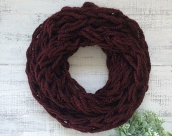 Adult arm knit cowl, burgundy cowl, arm knit cowl, hand knit cowl, scarves, gifts for her, warm cowls, winter cowls, red cowl