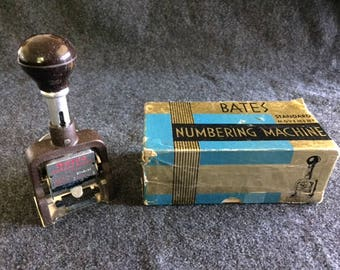 Vintage Bates Numbering Machine in box