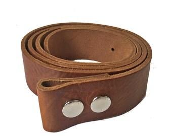 """Leather Belt Strap -1"""" 1/2 - Handmade in UK - Snap on Strap - Tan Belt - Leather Strap - Removable Buckle - custom belt straps"""
