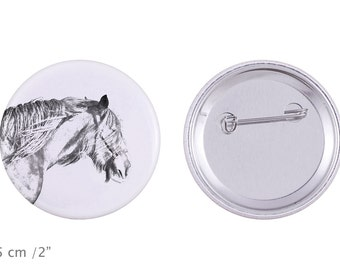 Buttons with a horse -Shire horse