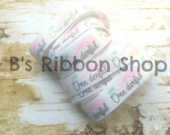 "7/8"" One-derful gold foil on white USDR grosgrain ribbon birthday party celebrate"
