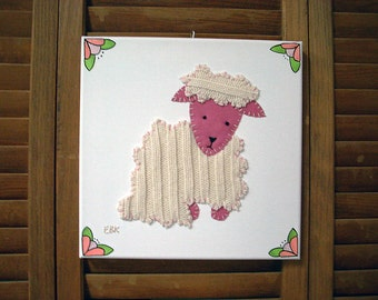 Sitting Lamb #2 Fabric Wall Art