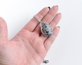 Jasper moon necklace // Nickelfree //