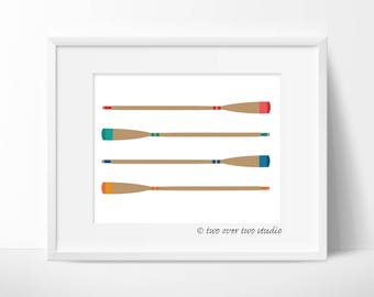 Boat Oar Printable Art, Wooden Oars or Paddle Print for Cabin, Cottage, Lake House, Beach, Nautical Decor
