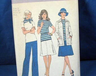 Vintage Simplicity Sewing Pattern 6222 Misses Top, Skirt, Pants and Jacket 1974