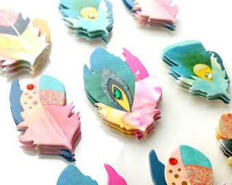 Feathers 3D stickers with glitter & rhinestone details
