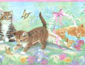 Kittens Flowers SB10102B Wallpaper Border