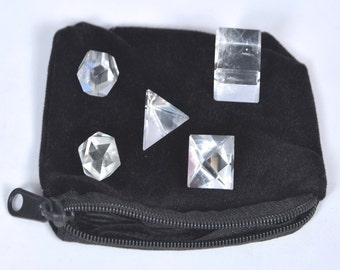 Wow A++ Crystal Quartz 5 Stones Sacred Geometry Sets Gemstone Platonic Solid with Free Shipping