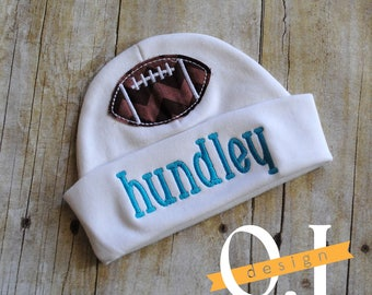 Personalized Baby Football Newborn Hat - Appliqued Newborn Hat -  embroidered - Newborn Hat - Infant Hat - Baby Hat - Hospital Hat