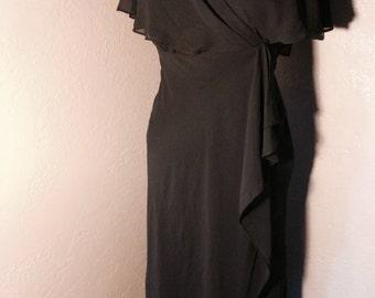 70's 80's Small Black Chiffon formal dress - vintage Little Black Dress