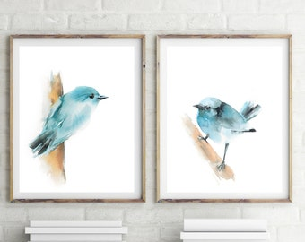 Art Print Set of blue birds, Set of 2, fine art prints set, minimalist light blue bird print, watercolor print, bird poster set, wall art