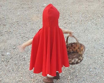 Girls costume, little red riding hood costume, family costume, hood only