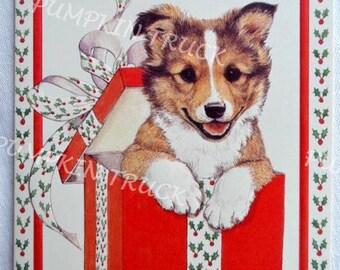 Vintage Christmas Card  - Collie Puppy Present - Unused Linda K Powell
