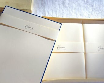 Crane's Cotton Kid Finish Stationery and Envelopes - Navy Blue Bordered