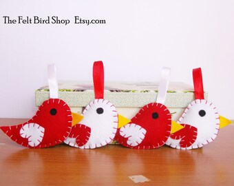 Felt Birds. Birds ornaments. Baby nursery decor. Office decor birds. Birthday gift birds. Cute birds. Red white birds.