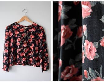 80s rose print blouse | M