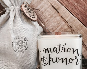 Matron Of Honor Candle - Matron Of Honor Gift -Matron of Honor Proposal Candle  - Matron Of Honor Sister Gift - Wedding Party Candles.
