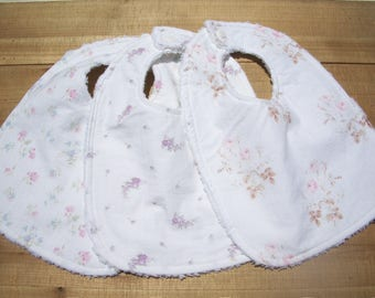 Baby Girl Bibs Set Of 3 Shabby Chic Ready To Ship