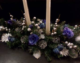 Blue Floral And Silver Candle Centerpiece! Blue and Silver Winter Centerpiece! Christmas Candle Arrangement!