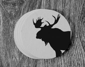Moose Silhouette - Letterpress Hand Printed Round Coaster - Set of 10 Coasters