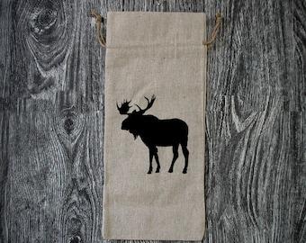 Moose Silhouette - Linen Wine Bottle Bag