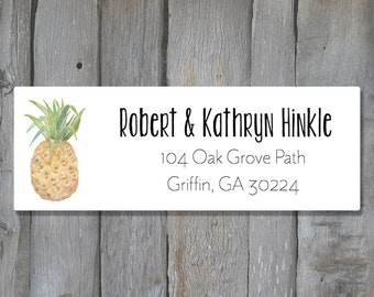 Pineapple Return Address Labels - Tropical Return Address Label - Customized Return Address Labels
