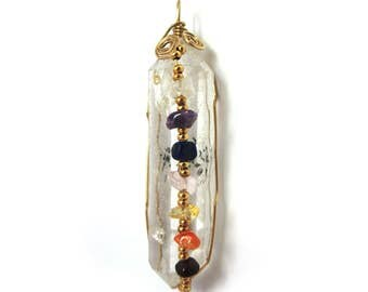 Wire-wrapped Clear Rock Crystal Point with Chakra Gemstones