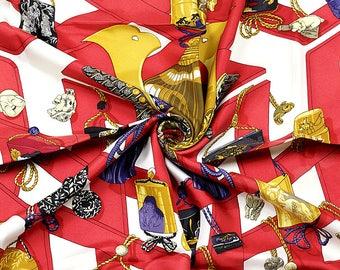 "HERMES SCARF Silk ""Reveries Japonaise"" by Caty Latham Vintage 90cm Carre 100% Auth"