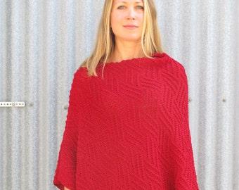 Red Wool Poncho, Merino Poncho, Textured Poncho, Australian wool poncho