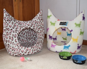 WINTER SALE - Fleece Cat Bed  (Hand Sewn in USA) , Cat House, Cat Cave