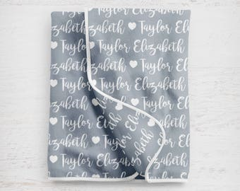 """The """"Taylor"""" Personalized  Baby Name Blanket Gray Girl Nursery"""