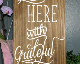 Gather here with grateful hearts, hand painted, wood sign, wooden sign, custom plaque, custom wood sign, custom wooden sign, plaque, family