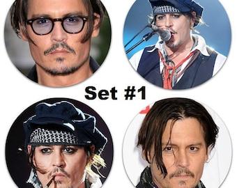 """Set of 4 Johnny Depp Large 2.25"""" Pinback Buttons or Magnets - Choose Your Favorite Set"""