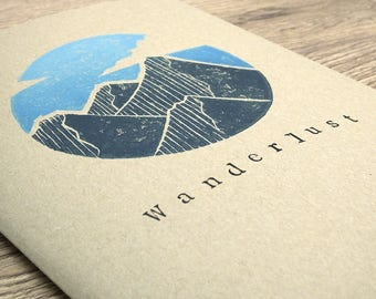 "Brown Sketchbook with Hand-printed Lino-print Design - ""Wanderlust Mountains"""