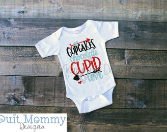 Cupcakes Chocolate Cupid Love | Embroidered Onesie or TShirt | Valentine's Day | Baby
