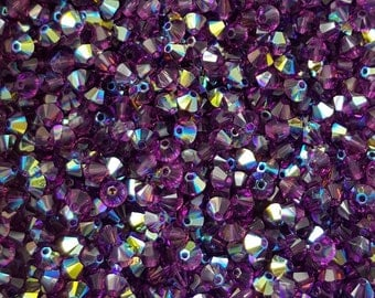 Swarovski 4mm Bicone Crystal Beads - Amethyst AB - Select 10, 20, 50 or 100