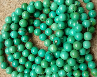 """Natural Sinkiang Turquoise 6mm Round Beads, Dyed Dark Sea Green - 15.5"""" Strand"""