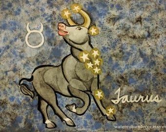 Original Taurus the bull watercolor painting Constellation Taurus gifts Astronomy art Zodiac 5x7 painting Cow Bull artwork Country Decor